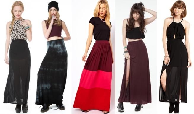 maxi skirt, asos, brandy melville, material girl, macys,
